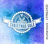 Christmas and New Year sale corporate identity sign with calligraphic and typographic elements on triangle background