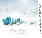 christmas gift boxes and... | Shutterstock .eps vector #159867260