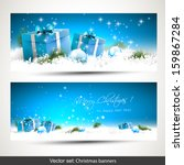 Set Of Two Blue Christmas...