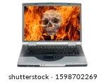 Laptop Computer. Human Skull I...