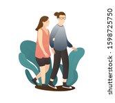 romantic couple walking...   Shutterstock .eps vector #1598725750