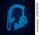 glowing neon line fishing rod... | Shutterstock . vector #1598736046