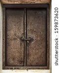 Old Wooden Door With Chain Key...