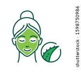 aloe mask color line icon....