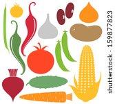 vegetable. icon set. vector... | Shutterstock .eps vector #159877823