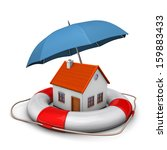 house with blue umbrella and... | Shutterstock . vector #159883433