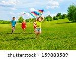four little kids running in the ... | Shutterstock . vector #159883589