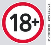 vector icon 18 age restriction... | Shutterstock . vector #1598881726