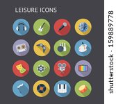 flat icons for leisure  music...