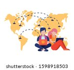 young couple using laptop with... | Shutterstock .eps vector #1598918503