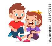 happy cute kid boy comfort...   Shutterstock .eps vector #1598977993