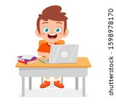 happy cute kid boy study using...   Shutterstock .eps vector #1598978170