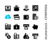 web icon set   money  coin  card | Shutterstock .eps vector #159899006