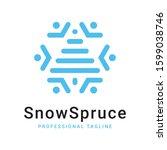 snow spruce blue logo template | Shutterstock .eps vector #1599038746