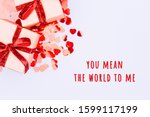 craft boxes with red ribbon bow ... | Shutterstock . vector #1599117199