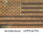 American Flag On A Wooden...