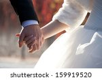wedding theme  holding hands... | Shutterstock . vector #159919520