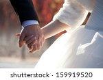 wedding theme  holding hands... | Shutterstock . vector #159919520
