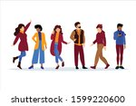 group of charismatic smiling... | Shutterstock .eps vector #1599220600