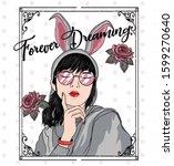 forever dreaming.cute girl...   Shutterstock .eps vector #1599270640