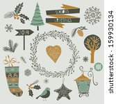set of winter christmas icons ... | Shutterstock .eps vector #159930134