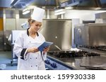 young happy chef using tablet... | Shutterstock . vector #159930338