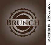 brunch realistic wooden emblem. ... | Shutterstock .eps vector #1599326200