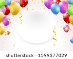 illustration of a banner with... | Shutterstock .eps vector #1599377029