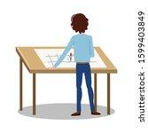 man engineer standing backwards ...   Shutterstock .eps vector #1599403849