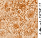 seamless floral pattern 70s.... | Shutterstock .eps vector #1599408169