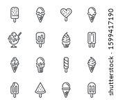 ice cream vector thin line...   Shutterstock .eps vector #1599417190