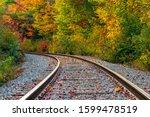 Curved Train Tracks Leading...