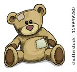 Hand Drawn Teddy Bear Isolated...