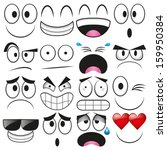 Vector Cartoon Set Of Different Cute Faces