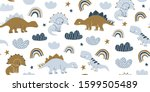hand drawn cute dinosaurs... | Shutterstock .eps vector #1599505489