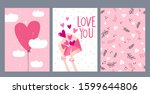 set of valentine's day greeting ... | Shutterstock .eps vector #1599644806