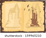 open old book with a picture of ... | Shutterstock .eps vector #159965210
