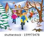 happy kids running through the...   Shutterstock .eps vector #159973478
