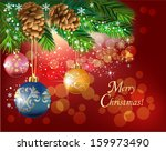 pine branches with shiny balls... | Shutterstock .eps vector #159973490