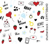 love and valentine day seamless ... | Shutterstock . vector #1599738640