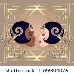 retro fashion  glamour girl of... | Shutterstock .eps vector #1599804076