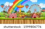background scene of funpark... | Shutterstock .eps vector #1599806776