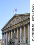 Small photo of Day view of the Palais Bourbon building in the 7th arrondissement of Paris, home of the French Parliament, or Assemblee Nationale (National Assembly)