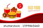 web banner with tasty fast food ...   Shutterstock .eps vector #1599865660