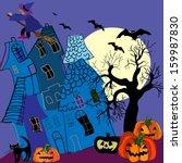 halloween vector card.... | Shutterstock .eps vector #159987830