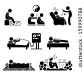 Alternate Therapies Medical Treatment Fish Spa Qi Gong Crystal Colon Cleansing Hypnosis Mud Hot Spring Stick Figure Pictogram Icon