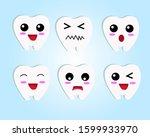 tooth cartoon emoji showing... | Shutterstock .eps vector #1599933970