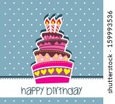 happy birthday cake card vector ... | Shutterstock .eps vector #159993536