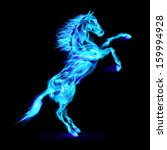 Raster version. Blue fire horse rearing up. Illustration on black background. - stock photo