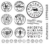Vector vintage stamp and icons. Create your own retro stamps, labels and badges. - stock vector